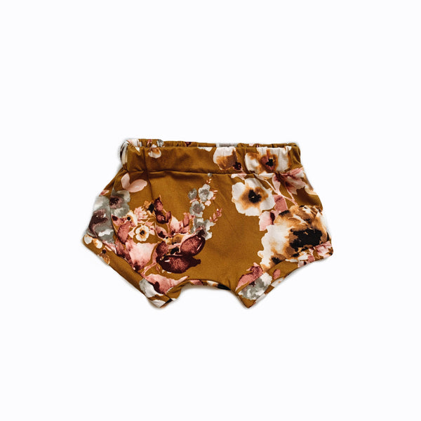 shorties in ochre floral