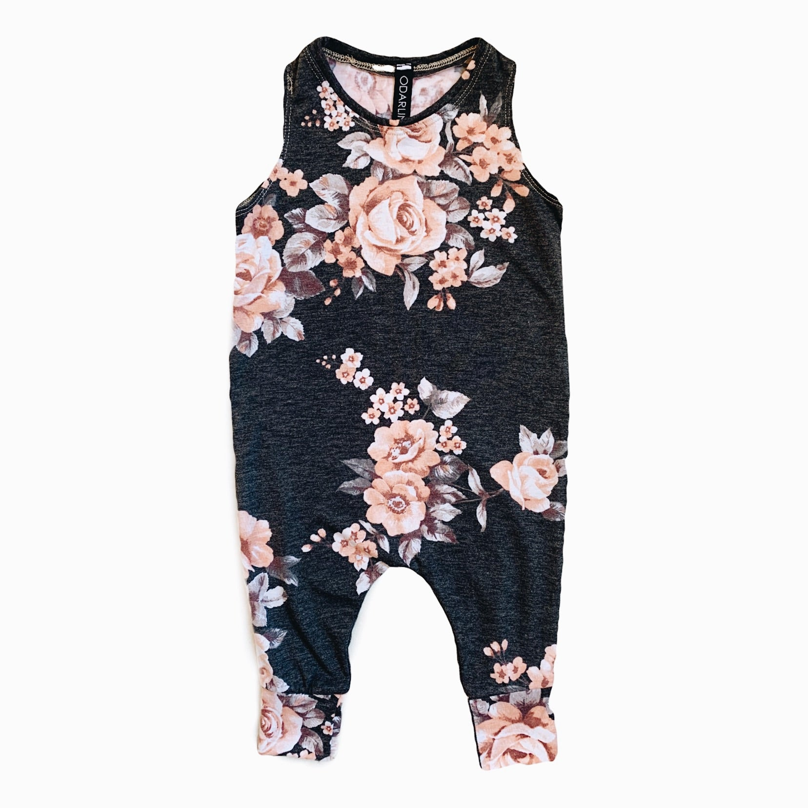 playsuit in charcoal floral