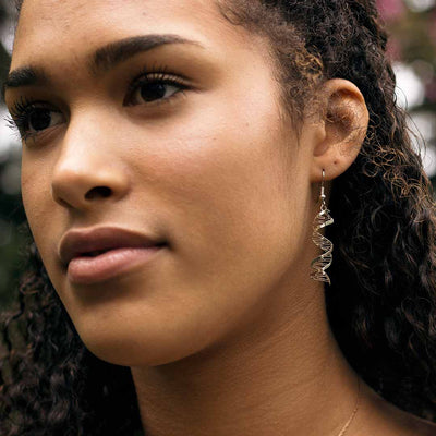 DNA earrings, complete with major and minor grooves and base pairing. Beautiful science jewelry for a biologist or science student or teacher.