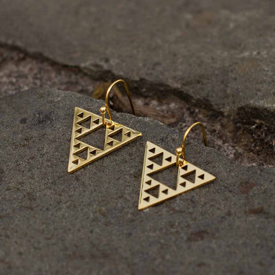 Sierpinski Triangle Earrings - gold version (pointing down) - math & science jewelry gift for mathematics students and teachers