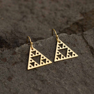 Sierpinski Triangle Earrings - gold version (pointing up) - math & science jewelry gift for mathematics students and teachers