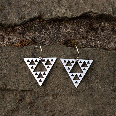 Sierpinski Triangle Earrings - silver steel version (pointing down) - math & science jewelry gift for mathematics students and teachers