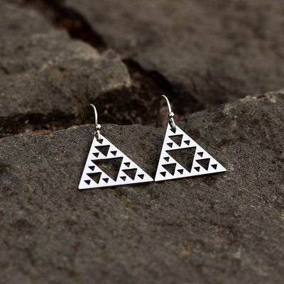 Sierpinski Triangle Earrings - silver steel version (pointing up) - math & science jewelry gift for mathematics students and teachers