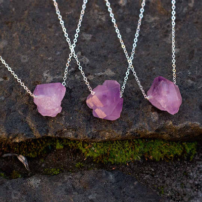 Raw Amethyst Necklace - science jewelry for geologist, rock lovers, and mineralogy enthusiasts. Great gift!
