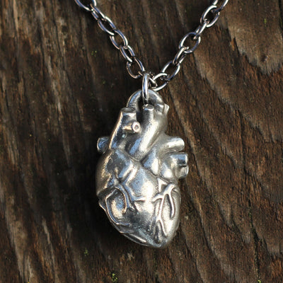 Anatomical Heart Necklace - Pewter