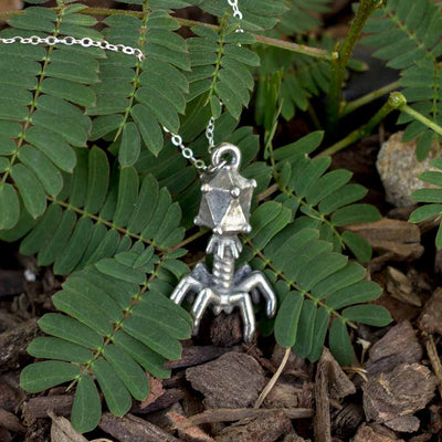 Bacteriophage Necklace - sterling silver chain / Science jewelry for biology students, biologists, and teachers
