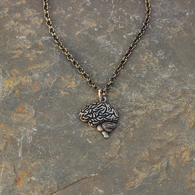 Brain necklace with a gunmetal chain.