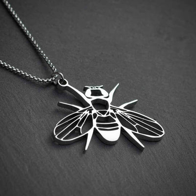 Drosophila fruit fly necklace - science jewelry gift for a student or researcher in biology or genetics. Silver steel version.