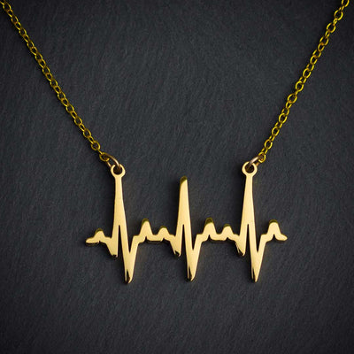 Heartbeat Necklace - based on real cardiograms, this scientifically accurate necklace makes a beautiful science jewelry gift for a nurse, doctor, medical student, or anyone who loves life. (Gold version)