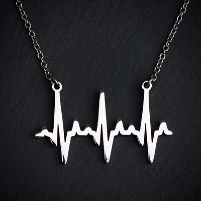 Heartbeat Necklace - based on real cardiograms, this scientifically accurate necklace makes a beautiful science jewelry gift for a nurse, doctor, medical student, or anyone who loves life. (Silver version)
