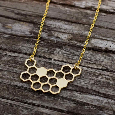 Honeycomb Necklace - science jewelry for bee lovers, gardeners, and biologists - gold