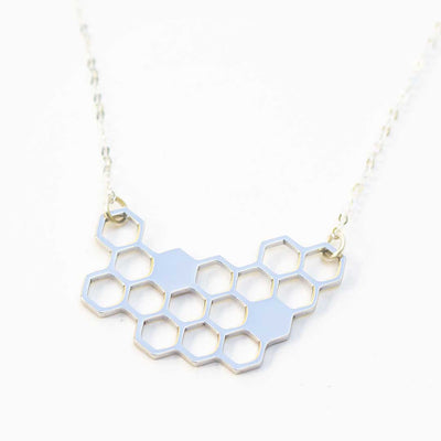 Honeycomb Necklace - science jewelry for bee lovers, gardeners, and biologists - silver