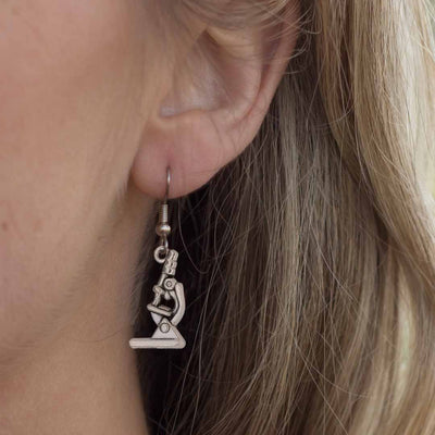Microscope Earrings - science jewelry for biology, medicine, microbiology, and science teachers.