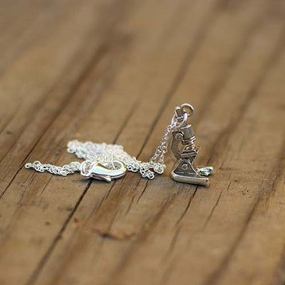 Microscope Necklace - science jewelry for biology, medicine, microbiology, and science teachers.