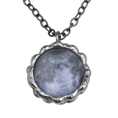 Moon Necklace - space science jewelry for astronomy. Great gift for an astronomer, star gazer, science teacher, or lunar observer. The pendant is hand-soldered and displays both the near and far sides of the moon.