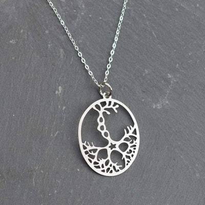 Neuron necklace: science jewelry for biology and neuroscience. Great gift for teachers, biologists, nurses, and neuroscientists. Rhodium silver pyramidal neurons on a sterling silver chain.