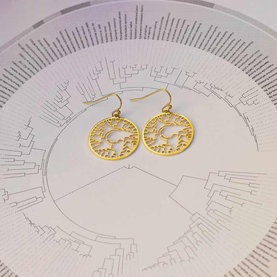 Phylogenetic Tree of Life Earrings: Darwin evolution science jewelry gift - gold version