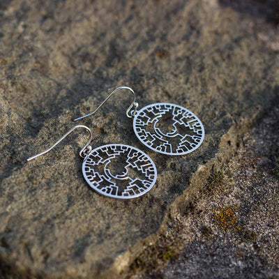 Phylogenetic Tree of Life Earrings: Darwin evolution science jewelry gift - silver version