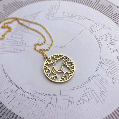 Phylogenetic Tree of Life Necklace: Darwin evolution science jewelry gift - gold version
