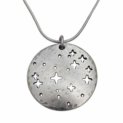 Pleiades constellation necklace - science & astronomy jewelry. Great gift for a star gazer, teacher, or astronomer. Pendant on a steel chain.