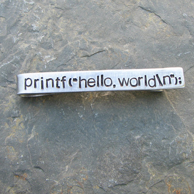 """hello, world"" Tie Bar"