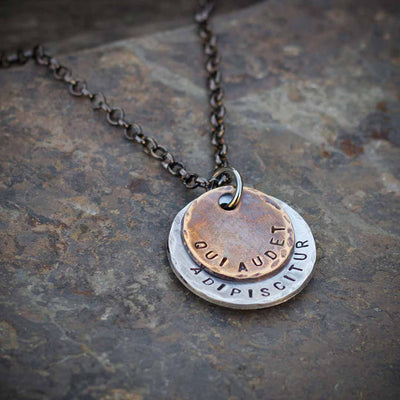 "Qui Audet Adipiscitur - ""She Who Dares, Wins"" Necklace - Perfect gift for graduation, birthdays, or starting a new challenging venture"
