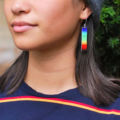 Solar spectrum earrings - science jewelry for astronomers, astronomy students, and space science enthusiasts.