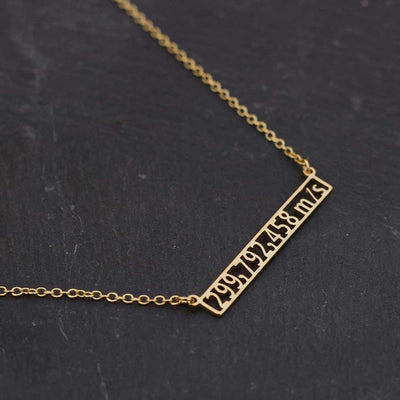 Speed of Light Necklace - science jewelry for students of physics or astronomy, or for runners and athletes. Great gift idea!