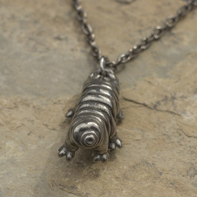 "Vertical tardigrade & 32"" gunmetal chain - tardigrade necklace"