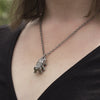 "Vertical tardigrade & 18"" gunmetal chain - tardigrade necklace"