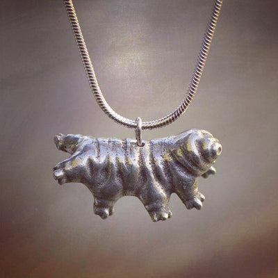 "Horizontal tardigrade & 18"" steel snake chain - tardigrade necklace"