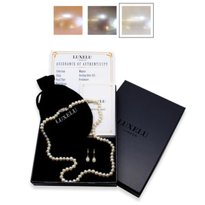 Luxelu London Collection : Mignon Pearl Jewellery Set with Dome Pearl Necklace + Drop Pearl Earrings