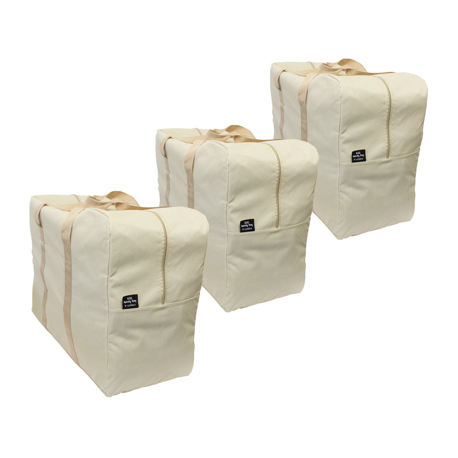 Beige, Brown and Grey storage bags laundry bags