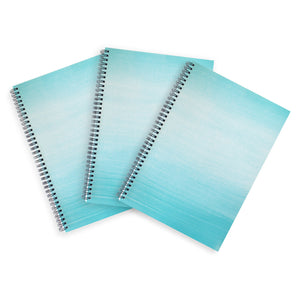3 Blue A4 Hardback Notebooks - Lined, Spiral Bound