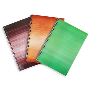 Black, Brown and Green A4 Hardback Notebooks - Lined, Spiral Bound