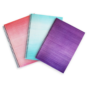 Pink, Blue and Purple A4 Hardback Notebooks - Lined, Spiral Bound