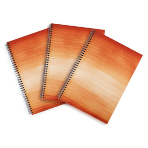 3 Brown A4 Hardback Notebooks - Lined, Spiral Bound