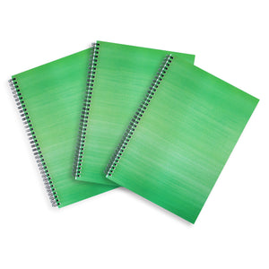 3 Green A4 Hardback Notebooks - Lined, Spiral Bound