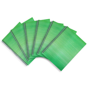 6 Green A4 Notebooks - Lined, Spiral Bound