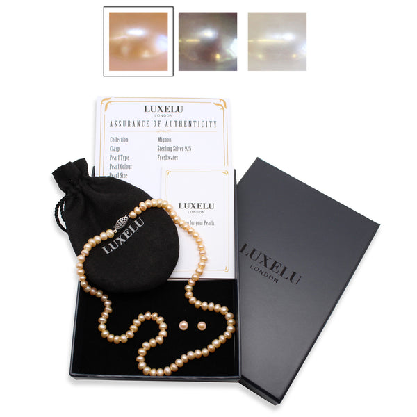 Luxelu London Collection : Mignon Pearl Jewellery Set with Dome Pearl Necklace + Pearl Stud Earrings