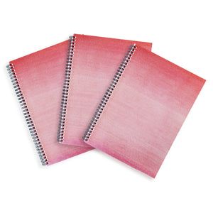 3 Pink A4 Hardback Notebooks - Lined, Spiral Bound