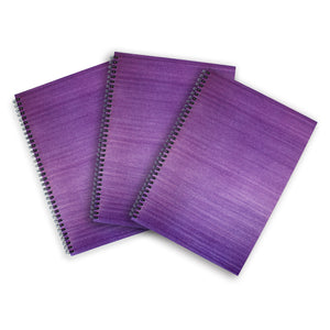 3 Purple A4 Hardback Notebooks - Lined, Spiral Bound
