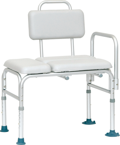 "PROFESSIONAL MEDICAL IMPORTS (PMI) Padded Transfer Bench with Suction Feet 24"" W x 16"" D Seat Dimension - Crescent Medical Supply"