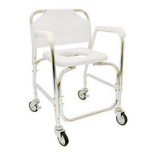 Shower Transport Chair, w/Rear Wheels And Brakes
