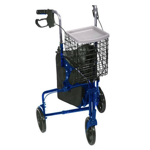 DRIVE MEDICAL 3 Wheel Aluminum Rollator, Blue - Crescent Medical Supply