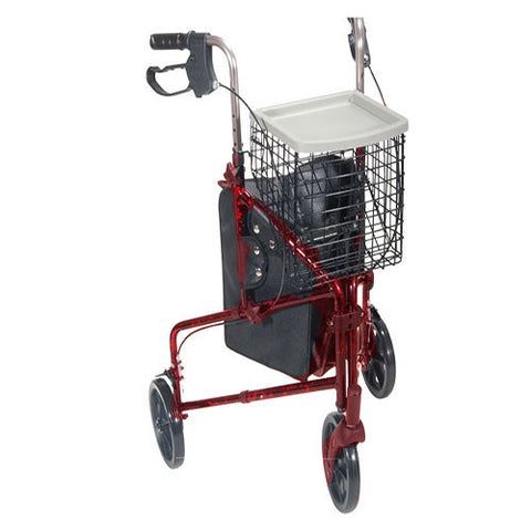 DRIVE MEDICAL 3 Wheel Aluminum Rollator, Red - Crescent Medical Supply