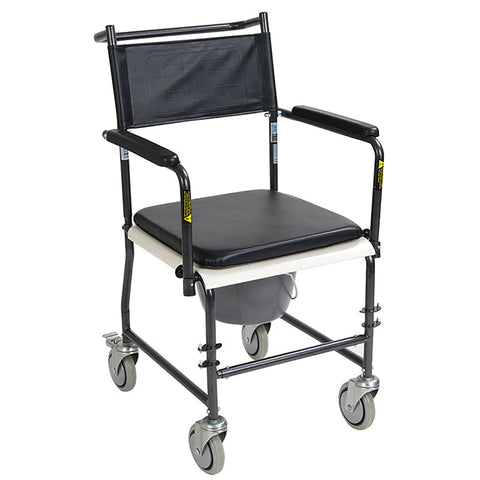 DRIVE MEDICAL Portable, Upholstered Commode with Wheels and Drop Arm - Crescent Medical Supply