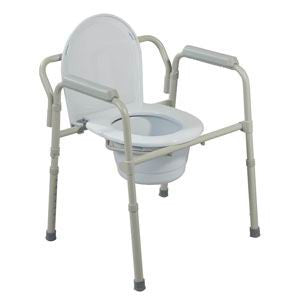DRIVE MEDICAL Folding Steel Commode, 350lb Capacity - Crescent Medical Supply