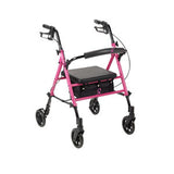 "ACS Aluminum Rollator, 6"" casters, Pink"