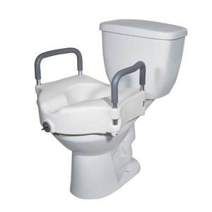 DRIVE MEDICAL 2 in 1 Locking Elevated Toilet Seat with Tool Free Removable Arms, 300 lb Weight Capacity - Crescent Medical Supply